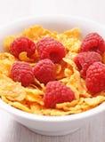 Raspberries and corn flakes Stock Photo