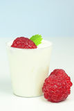 Raspberries and cream Stock Photo