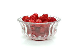 Raspberries in a crystal bowl Royalty Free Stock Images