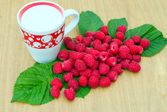 Raspberries and a cup of milk. Is located on wooden board Royalty Free Stock Images