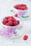 Raspberries In Cups Royalty Free Stock Photos