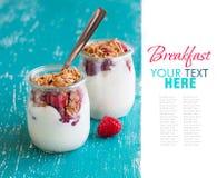 Raspberries, flakes and fresh yogurt in a jar. Raspberries, flakes and fresh yogurt in a  jar Royalty Free Stock Photo