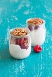 Raspberries, flakes and fresh yogurt in a jar. Raspberries, flakes and fresh yogurt in a  jar Stock Photos