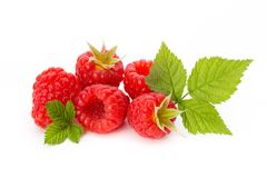 Raspberries. Fresh ripe raspberry with leaf isolated on the white background. Fresh ripe raspberry with leaf isolated on the white background Royalty Free Stock Photography