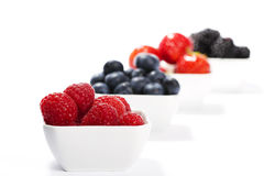 Raspberries in front of wild berries in bowls. On white background Stock Photos