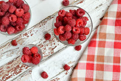 Raspberries on the glass. Fresh raspberries on the glass Royalty Free Stock Image