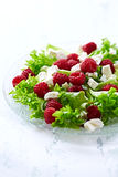 Raspberries  with Goat Cheese and Lettuce Royalty Free Stock Image