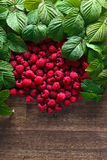 Raspberries and green leaves. Red raspberries and green leaves on wooden table Royalty Free Stock Images