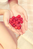 Raspberries in the hands of the girl royalty free stock image