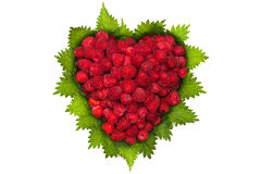 Raspberries in heart shape Royalty Free Stock Images