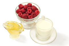 Raspberries, honey and milk cure for the common cold spring Royalty Free Stock Images