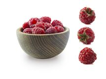 Free Raspberries Isolated On White Background. Raspberries On Wooden Bowl. Raspberry With Copy Space For Text. Juicy And Delicious Rasp Stock Image - 178278121
