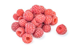 Raspberries isolated on white background cutout, close-up. Raspberries isolated isolated on white background cutout, close-up Royalty Free Stock Photo