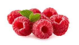 Raspberries Isolated on White Background. Group of Raspberries  with leaves Isolated on White Background Royalty Free Stock Image