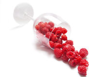 Raspberries. Isolated wineglass with raspberries on white background Stock Photography