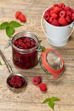 Raspberries jam. Selective focus. Royalty Free Stock Photography