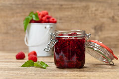 Raspberries jam. Selective focus. Royalty Free Stock Photography