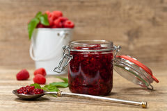 Raspberries jam. Selective focus. Royalty Free Stock Photos