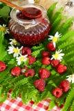 Raspberries. Jar with raspberry jam and fresh berries. Royalty Free Stock Images