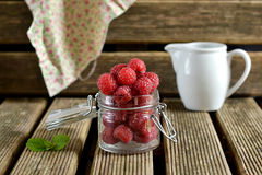 Raspberries in a jug with mint. Ripe raspberries in a jug with mint leaves royalty free stock image