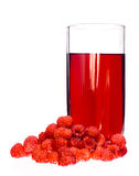 Raspberries and juice Royalty Free Stock Images