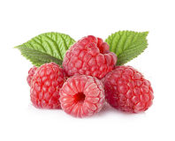 Raspberries with leaves isolated on white Stock Images