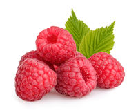 Raspberries with leaves isolated Royalty Free Stock Photography