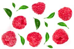 Raspberries with leaves isolated on white background. Top view. Flat lay pattern royalty free stock images