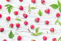 Raspberries and leaves Royalty Free Stock Photo