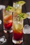 Raspberries lemonchello shots Stock Photo