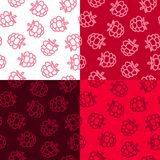Raspberries low poly seamless pattern. 4 Color Variations stock photos