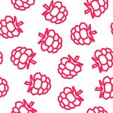 Raspberries low poly seamless pattern. Pink Raspberries isolated on white background. stock image