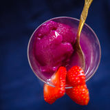 Raspberries and lychee sorbet closeup Royalty Free Stock Photography