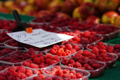 Raspberries on the market. Raspberries in plastic punnets on a market stall with price tag and blurred apples in the backgroun Stock Photography