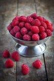 Raspberries in a metal bowl Stock Image