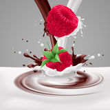 Raspberries with milk and chocolate Stock Photos