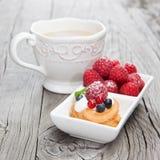 Raspberries mini cake Stock Images