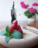 Raspberries & Mint Stock Photography