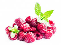 Raspberries with Mint Leaves Isolated on White Royalty Free Stock Images