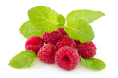 Raspberries with mint Royalty Free Stock Photography