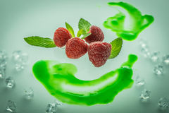 Raspberries and mints Royalty Free Stock Image
