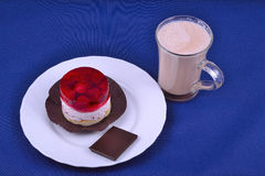 Raspberries pastry with cocoa Stock Photos
