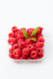 Raspberries in plastic bowl. On white background Stock Photography