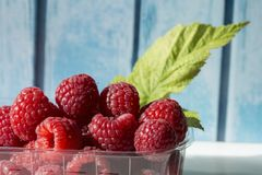 Raspberries in a plastic box. On a blue wooden background Stock Photography
