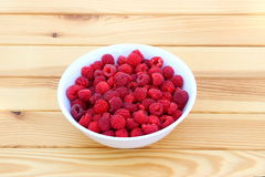 Raspberries in plate. Fresh raspberries in a round white plate on a wooden table Royalty Free Stock Image