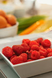 Raspberries on a plate Stock Photography