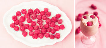 Raspberries in a plate and raspberries on icecream Royalty Free Stock Photos