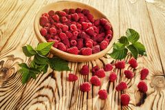Raspberries in a plate,in wooden bowl,basket/bush branch/growing. Raspberries,raspberries background closeup photo,high resolution product,Delicious first class Royalty Free Stock Photography