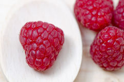 Raspberries. Raspberry in spoon, close up Royalty Free Stock Photos
