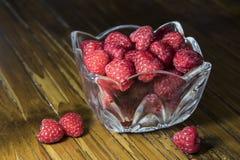 Raspberries. Red raspberries in a crystal dish Royalty Free Stock Image